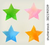 Watercolor Stars Shape Splashe...