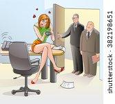 loving girl business lady... | Shutterstock .eps vector #382198651