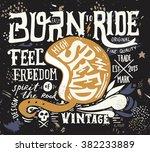 hand drawn grunge vintage... | Shutterstock .eps vector #382233889