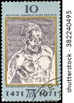 Small photo of DZERZHINSK, RUSSIA - FEBRUARY 11, 2016: A postage stamp of GERMANY shows Portrait, by Durer, 500th anniversary of the birth of Albrecht Durer, painter and engraver, circa 1971