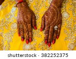 traditional henna painted hand | Shutterstock . vector #382252375