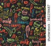 kids menu seamless pattern.... | Shutterstock .eps vector #382258687