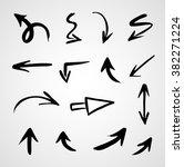 hand drawn arrows  vector set | Shutterstock .eps vector #382271224