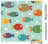 colorful fish cartoon seamless... | Shutterstock .eps vector #382272049