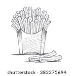 french fries illustration ... | Shutterstock .eps vector #382275694