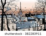 Montmartre In Paris With Eiffe...