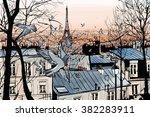 Montmartre In Paris With Eiffe...