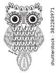 lovely ethnic owl floral tribal ... | Shutterstock .eps vector #382283971