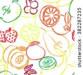contour fruits seamless pattern.... | Shutterstock .eps vector #382287235