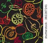 contour fruits seamless pattern.... | Shutterstock .eps vector #382287241
