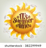 3d realistic sun vector with... | Shutterstock .eps vector #382299949