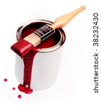 Paint brush and tin - stock photo