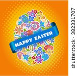 vector easter tag.  easter... | Shutterstock .eps vector #382331707