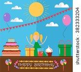 happy birthday card design in... | Shutterstock .eps vector #382333204