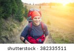 the girl with the backpack... | Shutterstock . vector #382335511
