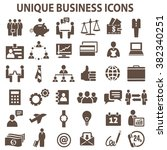 set of 36 unique business icons.... | Shutterstock . vector #382340251