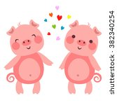 illustration of cute pigs in... | Shutterstock . vector #382340254