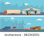 warehouse building and shipping ... | Shutterstock .eps vector #382342051