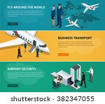 airport web banner set. concept ...   Shutterstock .eps vector #382347055