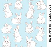 Stock vector seamless pattern with cute white little rabbits 382378021