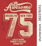 college new york typography  t... | Shutterstock .eps vector #382378351