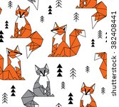 geometric fox seamless pattern | Shutterstock .eps vector #382408441
