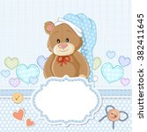 teddy bear for baby boy . baby... | Shutterstock .eps vector #382411645