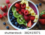 healthy and colorful breakfast... | Shutterstock . vector #382415071