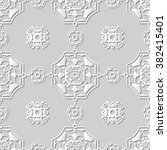 vector damask seamless 3d paper ... | Shutterstock .eps vector #382415401