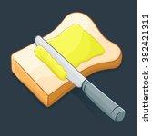 knife spreading butter or... | Shutterstock .eps vector #382421311