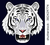 muzzle of a white tiger | Shutterstock .eps vector #382429774