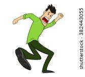 a male running scared cartoon... | Shutterstock . vector #382443055