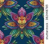 vector color henna lotus... | Shutterstock .eps vector #382448785