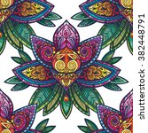 vector color henna flower... | Shutterstock .eps vector #382448791