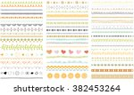 vector brush lines and borders... | Shutterstock .eps vector #382453264