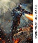futuristic robot soldier    Shutterstock . vector #382456411