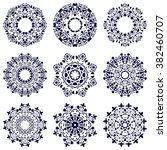 set of nine geometric circular... | Shutterstock .eps vector #382460707