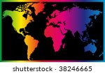 world map painted in seven... | Shutterstock . vector #38246665