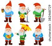 A Set Of Cartoon Garden Gnomes.