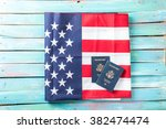 folded american flag with... | Shutterstock . vector #382474474