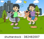 children playing rocking horse...   Shutterstock . vector #382482007