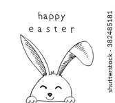 happy easter with rabbit ears   Shutterstock .eps vector #382485181