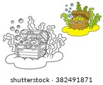 treasure chest full of gold and ... | Shutterstock .eps vector #382491871