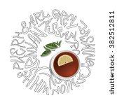 tea cup and tea names ... | Shutterstock .eps vector #382512811