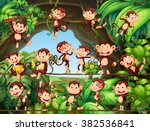 monkeys living in the forest... | Shutterstock .eps vector #382536841