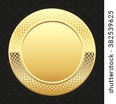 glossy gold badge on black... | Shutterstock .eps vector #382539625