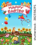 happy easter card with funny... | Shutterstock .eps vector #382558291