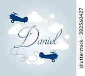 Boy S Name And Retro Planes In...