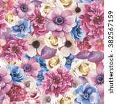 watercolor various flowers... | Shutterstock . vector #382567159