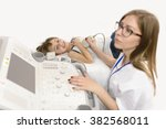 cute boy being diagnosed at... | Shutterstock . vector #382568011